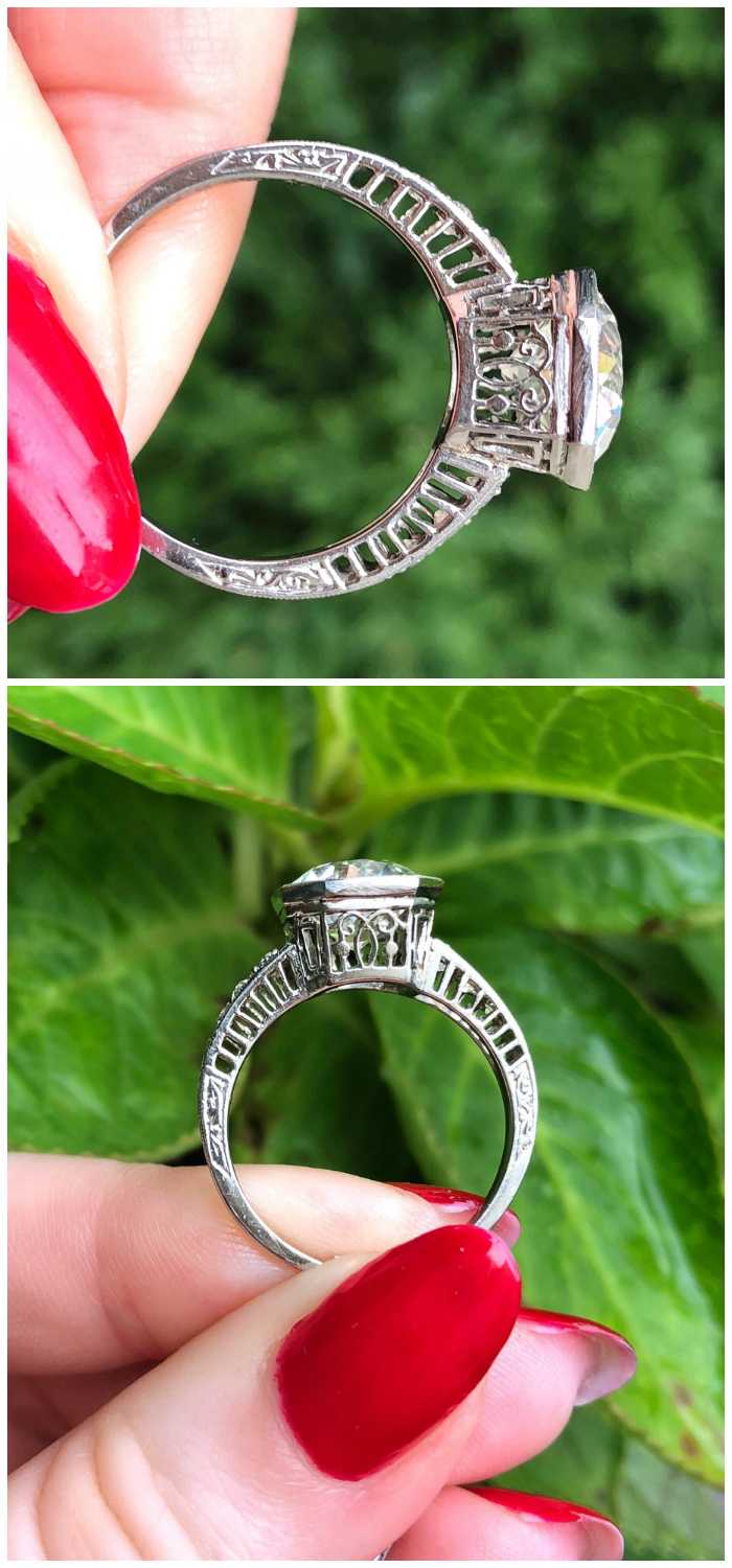 Side details of a stunningly beautiful Art Deco engagement ring! I love vintage and antique engagement rings.