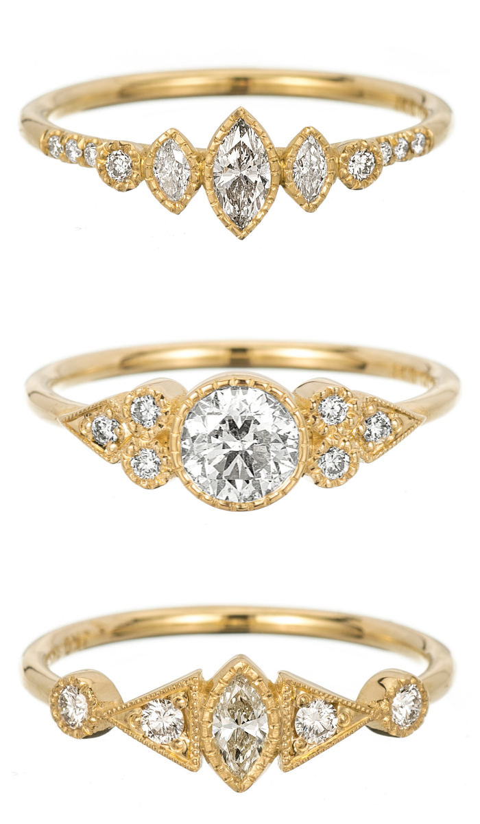 Three yellow gold and diamond engagement rings by Jennie Kwon.