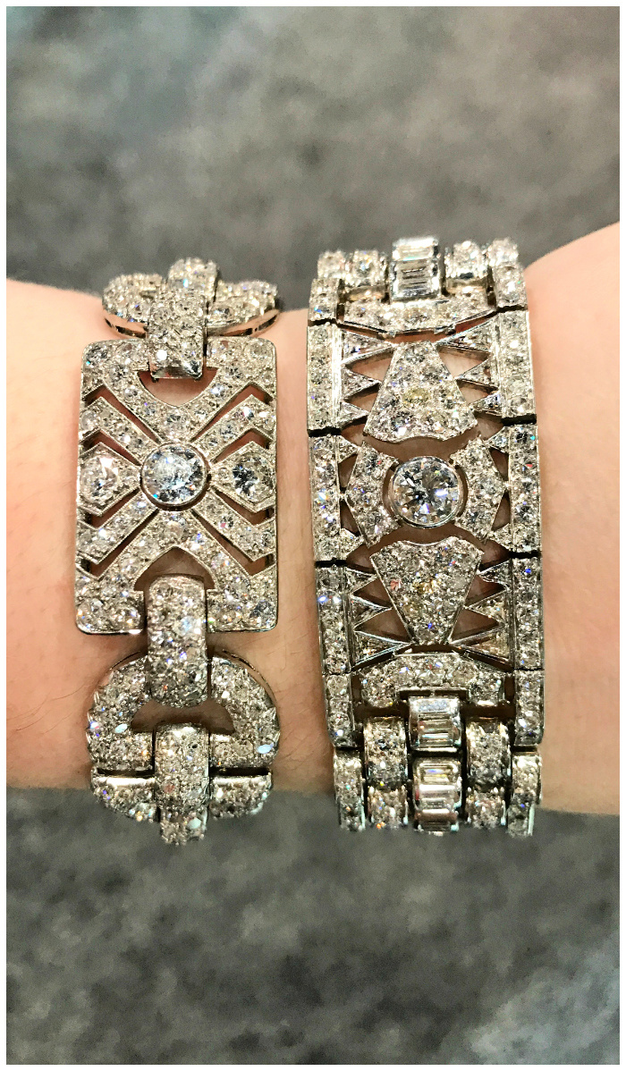 Two fantastic antique Art Deco diamond bracelets from Steve Fishman.