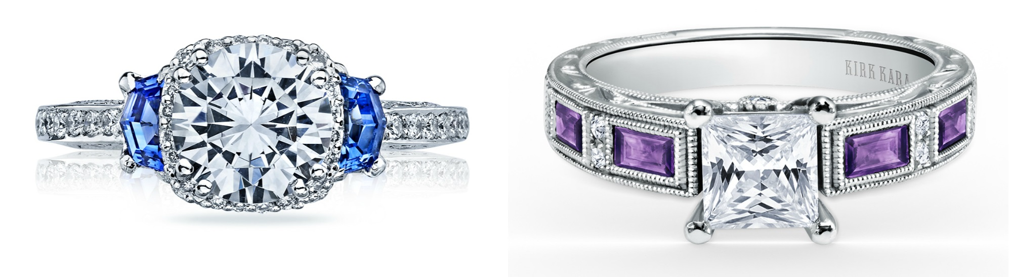 I love an engagement ring with a pop of color! Sapphire and diamond by Tacori, amethyst and diamond by Kirk Kara.