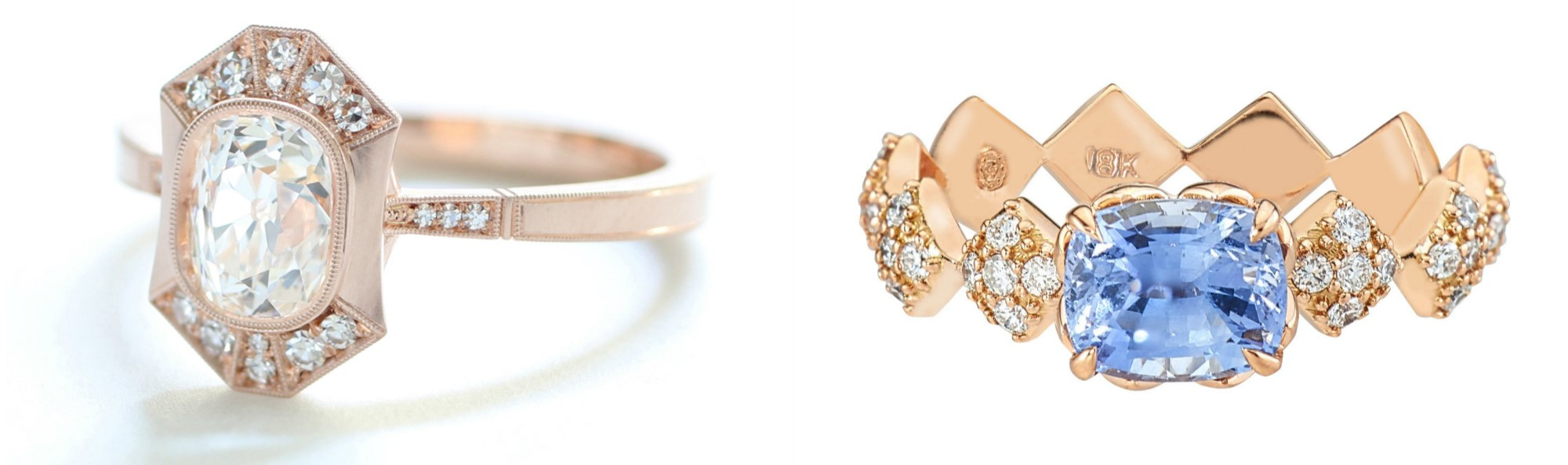 Two beautiful engagement rings! The one on the left is by Erika Winters, the sapphire is by GiGi Ferranti.