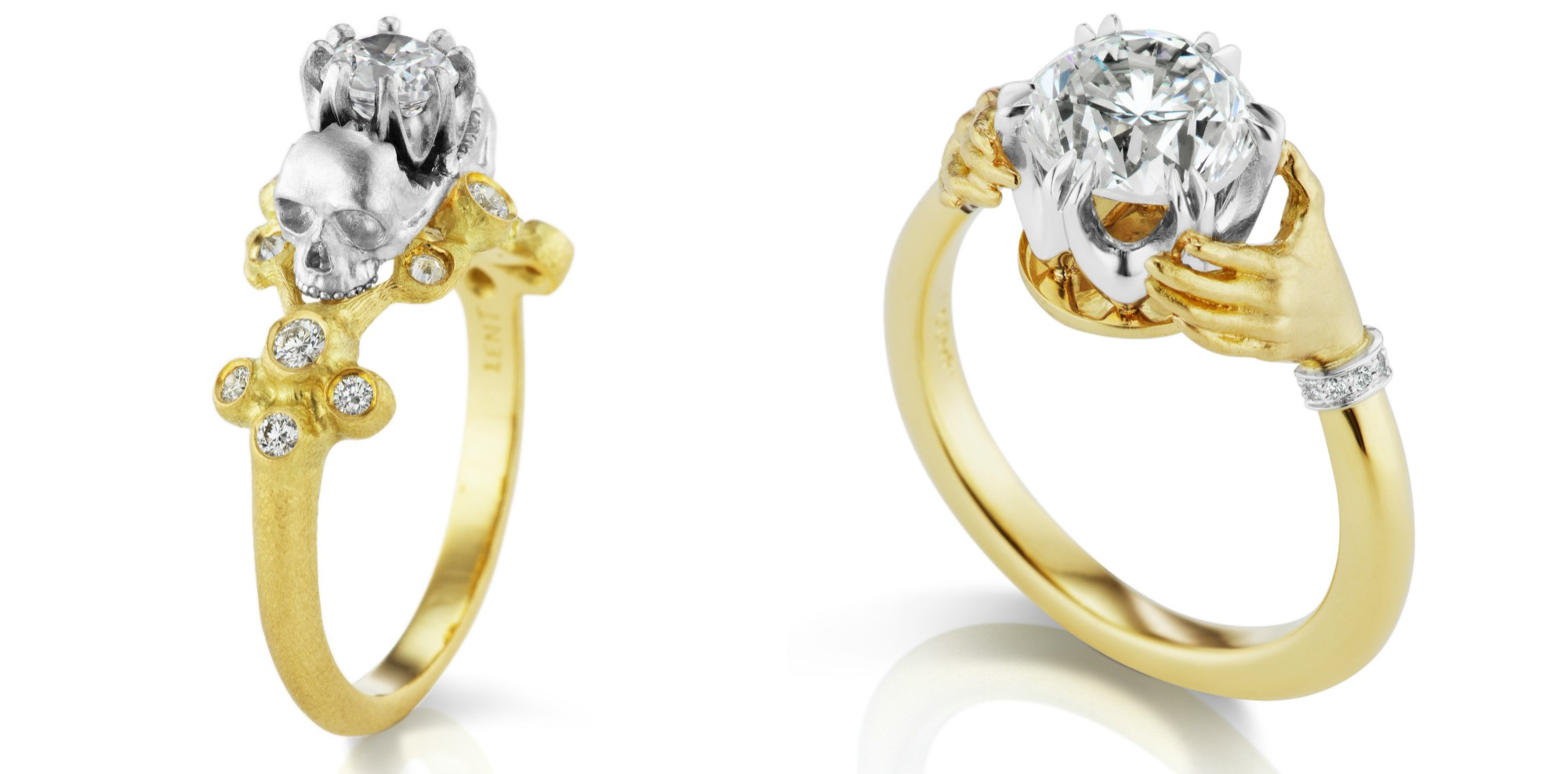 Two beautiful, haunting engagement rings by Anthony Lent. One with hands and one with skulls, both in yellow gold with diamonds.