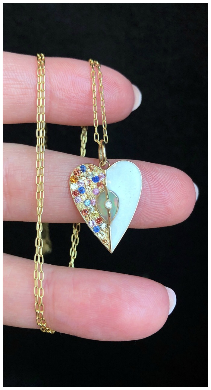 A beautiful heart necklace from Loriann Jewelry's new Unity Collection! Colorful sappphires, white enamel, and a opal in gold. .