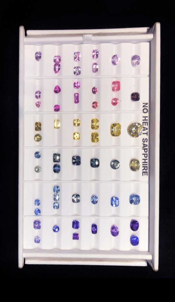 A delicious selection of glorious no heat sapphires from Kimberly Collins Colored Gems, at AGTA GemFair 2019.