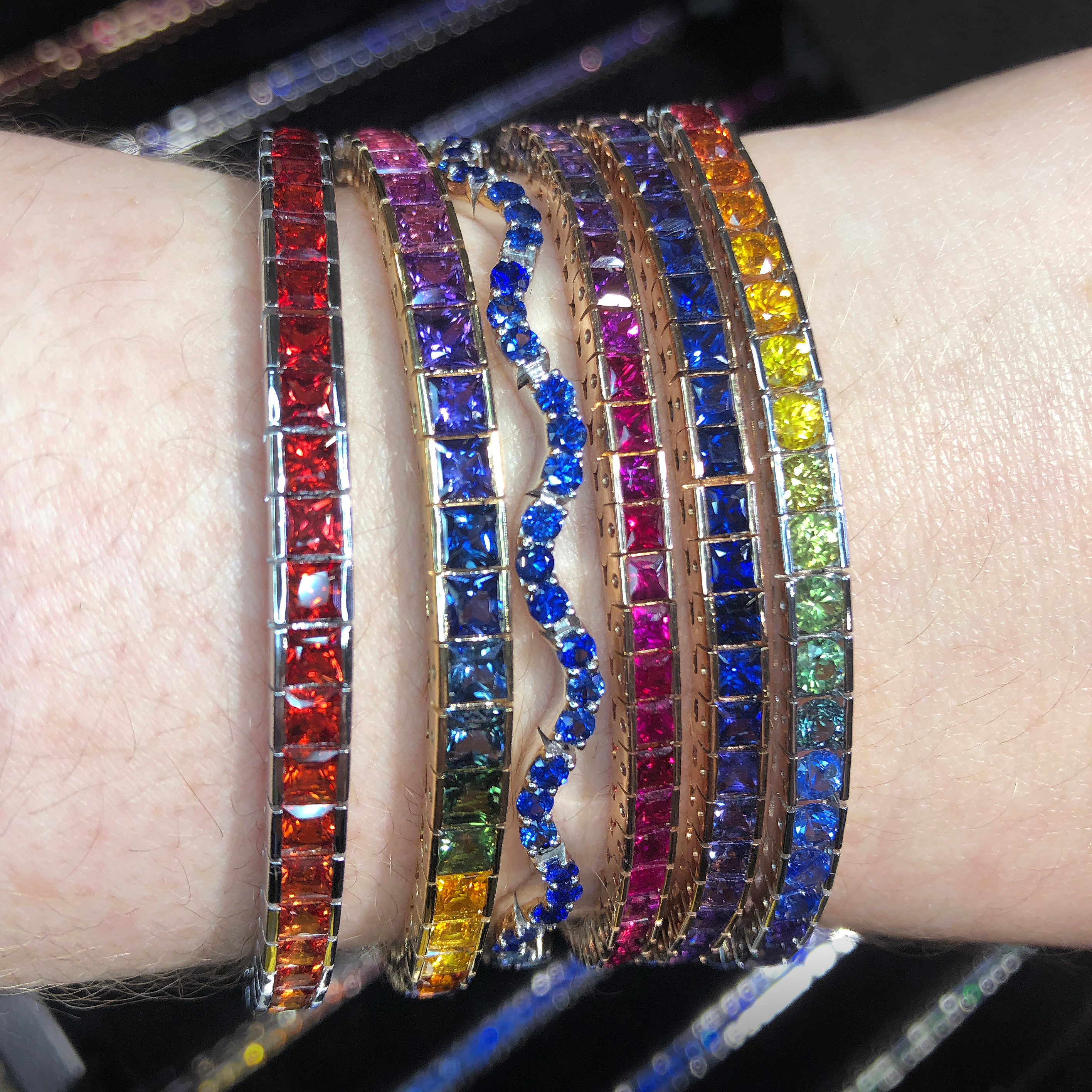 A stack of colorful sapphire bracelets from Michael Couch! Spotted at the 2019 AGTA Gem Fair.