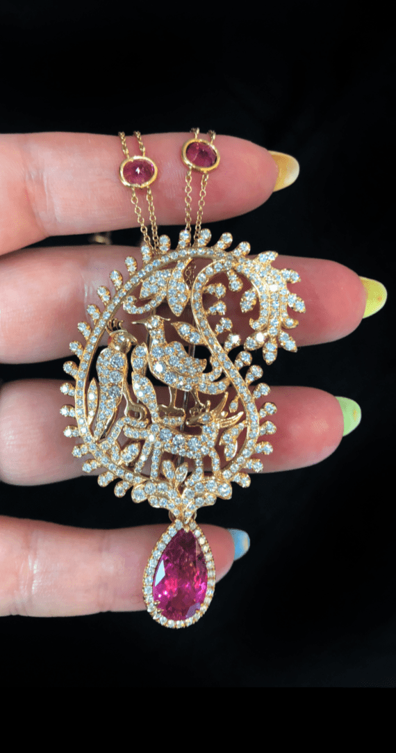 A stunning design from Dream Choice Jewelry! With rubellite and diamonds in rose gold.