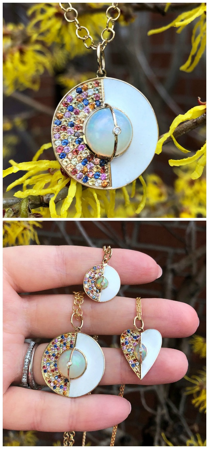 Beautiful necklaces from Loriann Jewelry's new Unity Collection! Colorful sappphires, white enamel, and a beautiful opal in gold. .