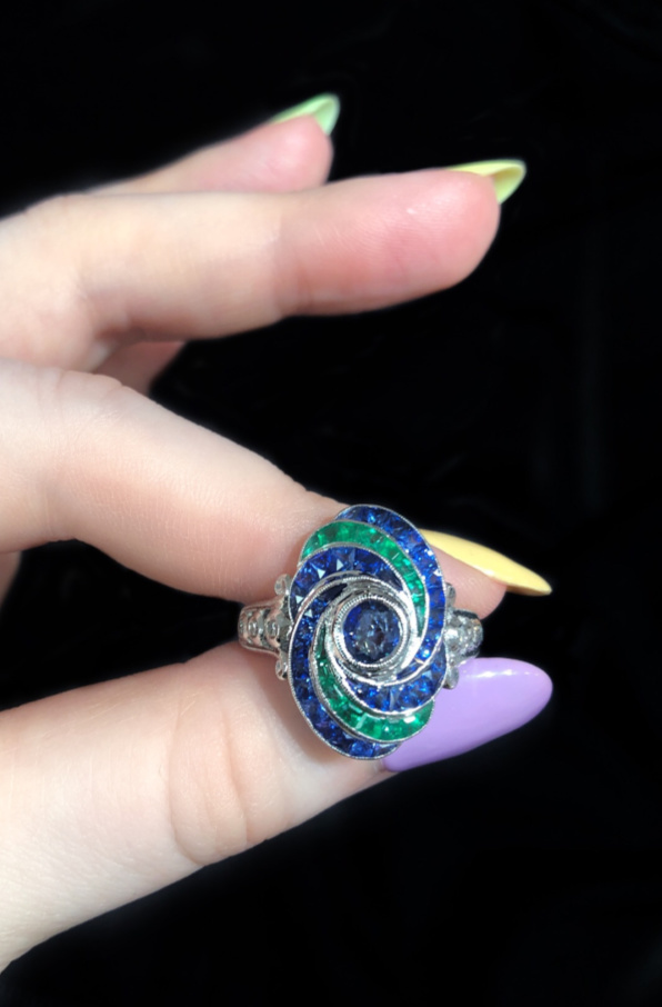 I love this emerald and sapphire ring from Beverley K!