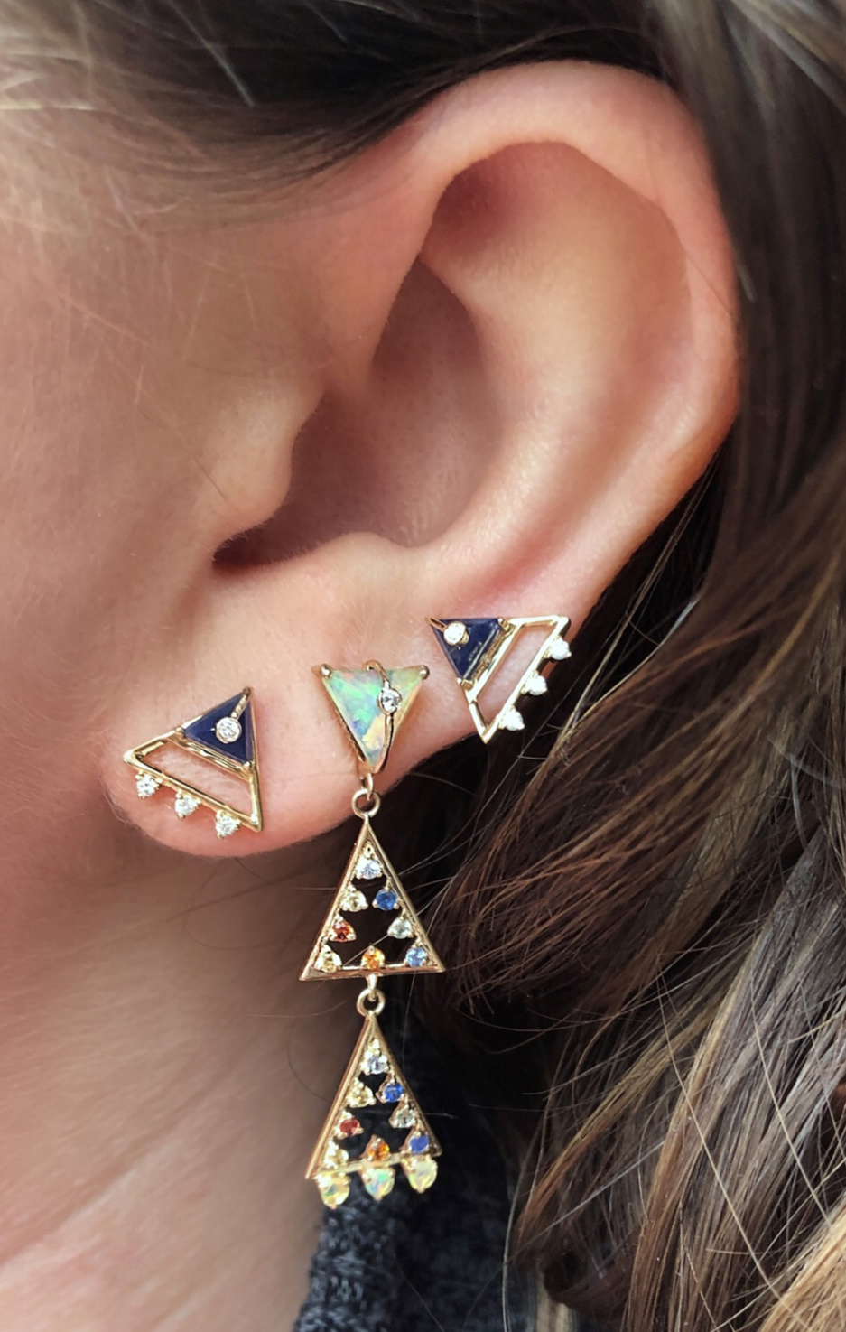 Super cool earrings from Loriann Jewelry's new Moderne collection! Diamonds, sapphires, lapis, and opals in gold.