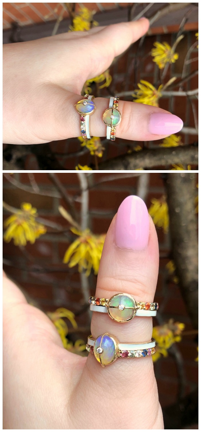 Two beautiful rainbow rings from Loriann Jewelry's new Unity Collection! Opals with sapphires, diamonds, and white enamel.