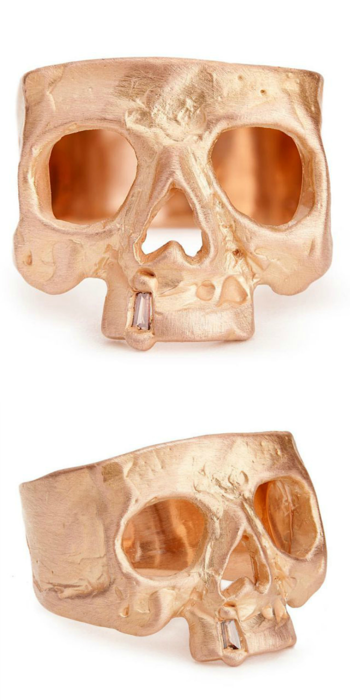 A beautiful rose gold and diamond skull ring by Polly Wales.