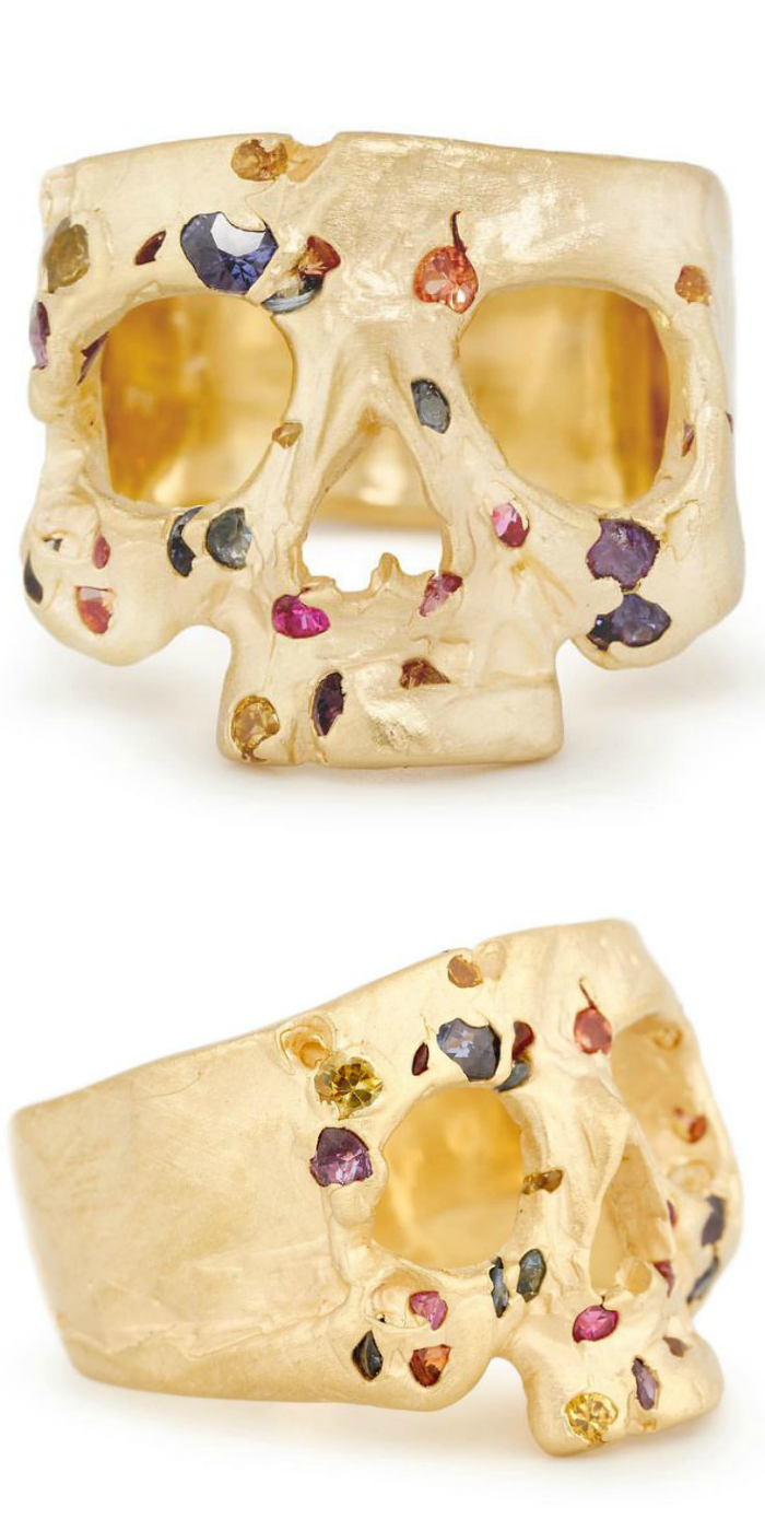 A beautiful yellow gold and colored gemstone skull ring by Polly Wales.