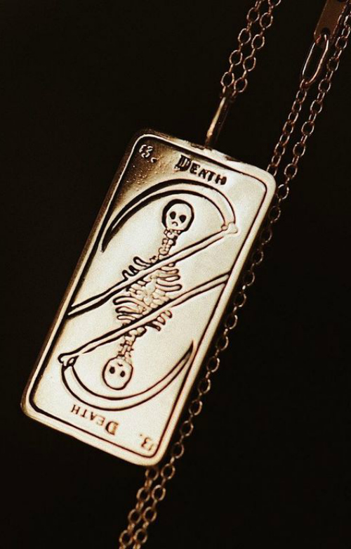 Death tarot card necklace by Sofia Zakia! Beautiful in yellow gold.