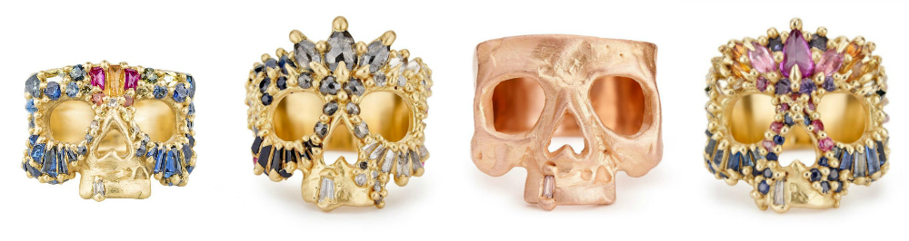 Stunning gold, gemstone, and diamond skull rings by Polly Wales.