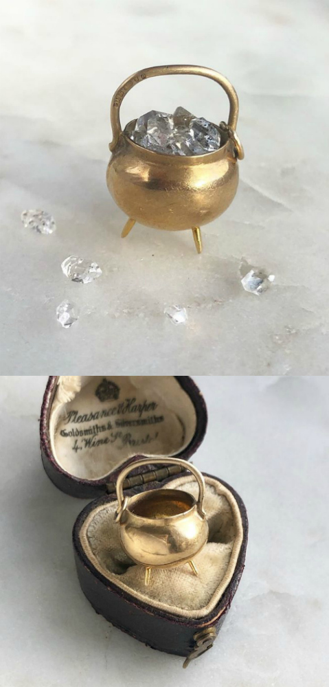 This vintage gold charm from Kate Gold Jewelry is shaped like a tiny cauldren!! Adorable and such cool witchy vibes.
