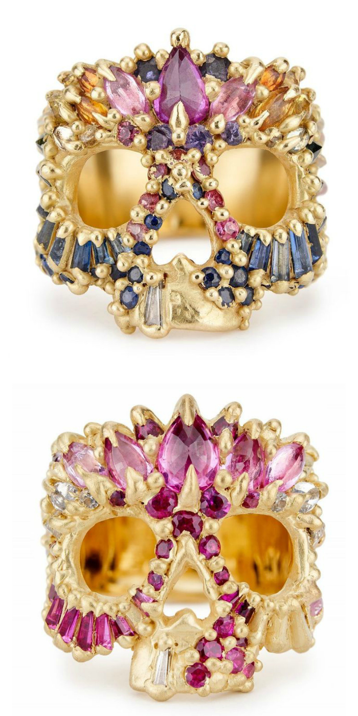 Two magnificent skull rings with colorful gemstones and diamonds in gold. By Polly Wales.