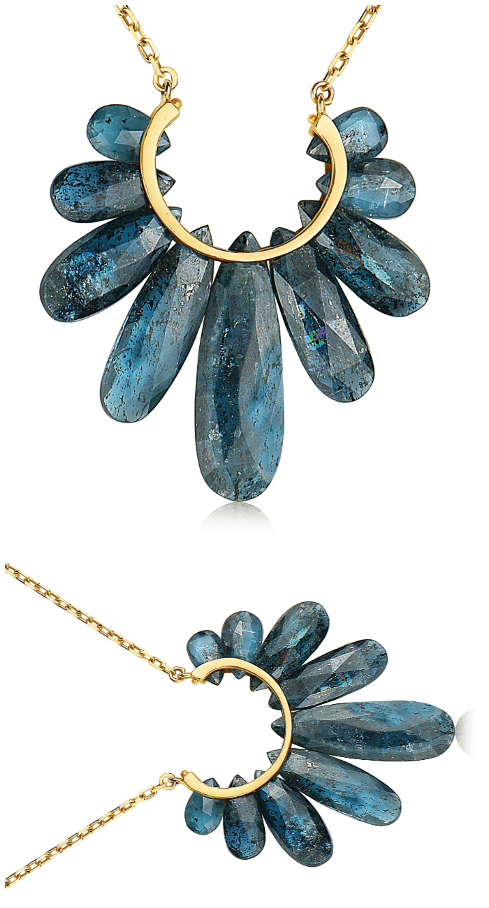 A lovely gemstone necklace from the Rachel Atherley Peacock collection. That pretty blue gem is kyanite!