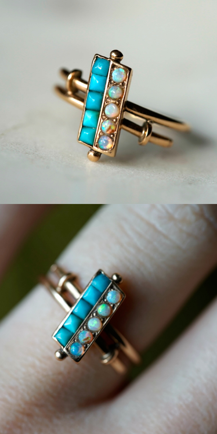 An antique turquoise ring with opals. I love this unusual bypass style! Victorian era.