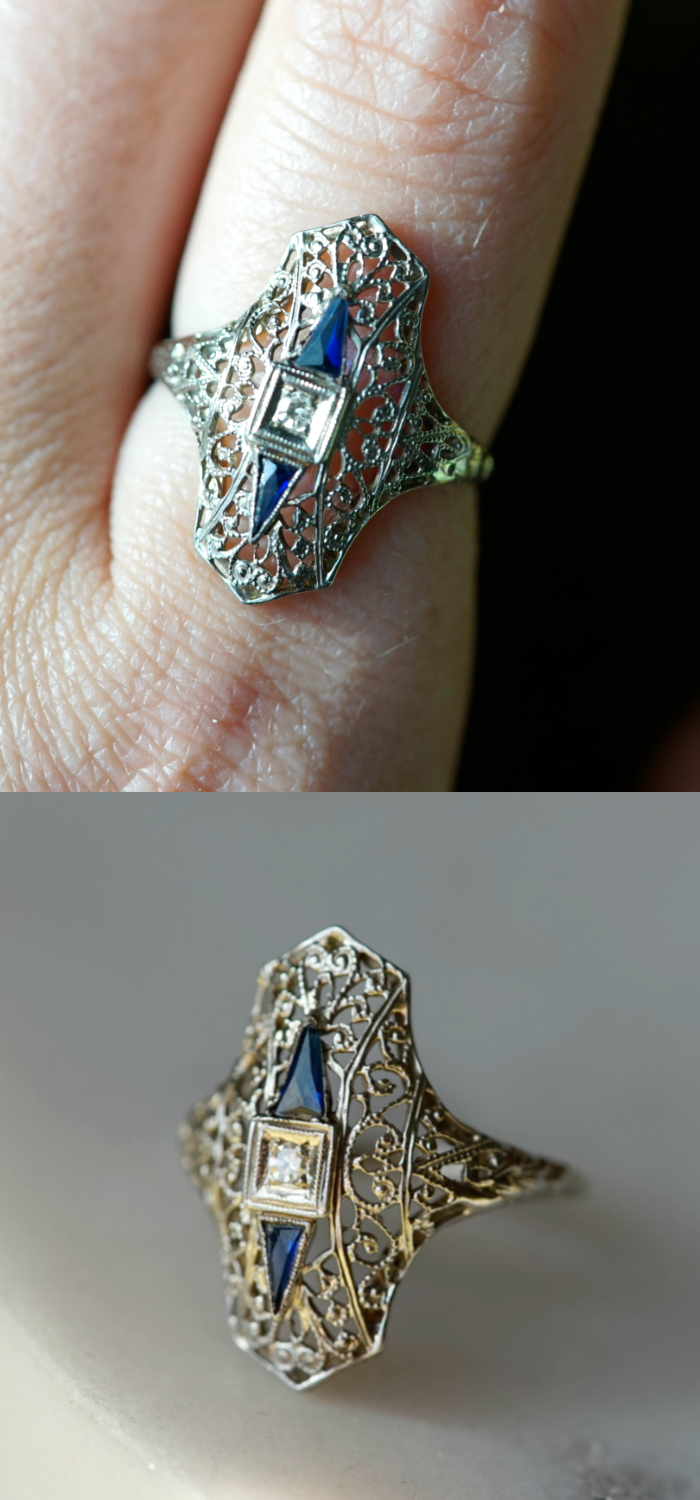 Art Deco era ring with synthetic sapphires and a diamond. Circa 1920's.