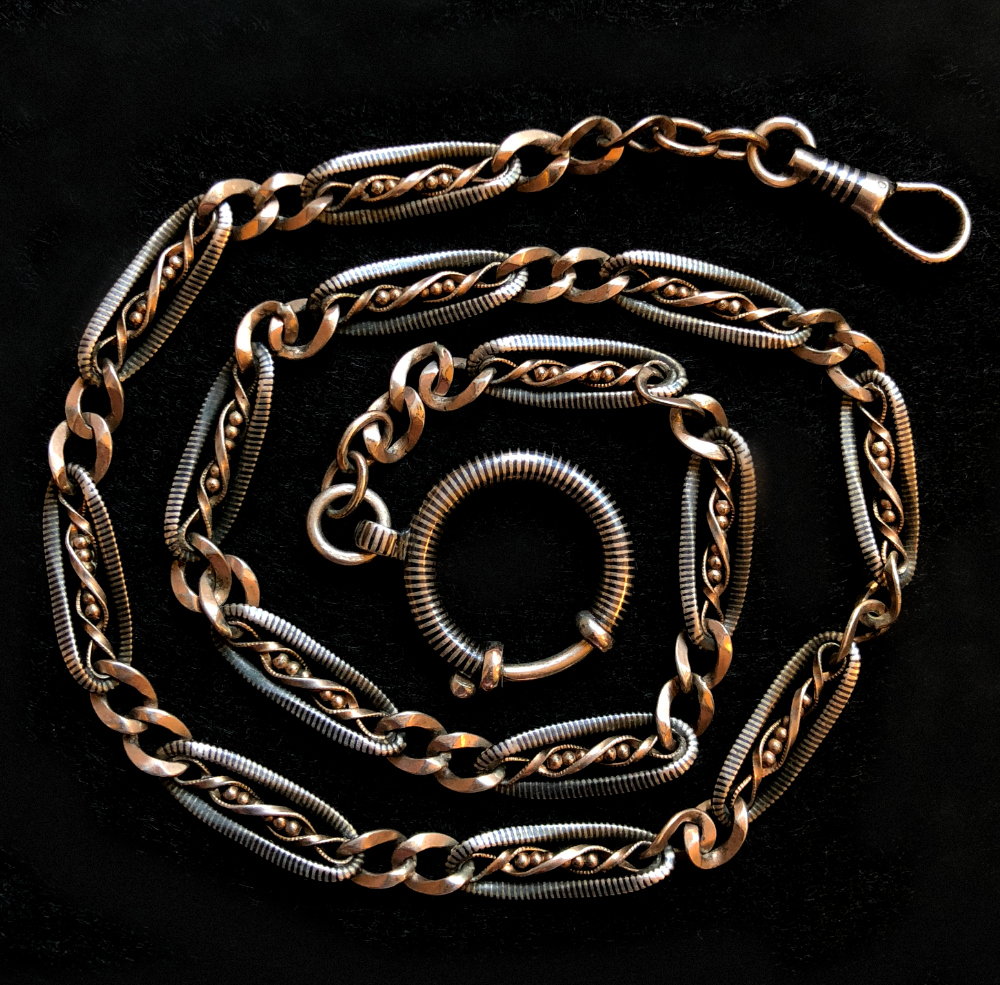 My beautiful Victorian era Niello watch chain.