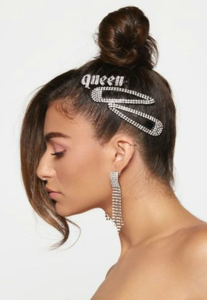 An incredible jewel hair style from Kitsch. Fit for a queen!