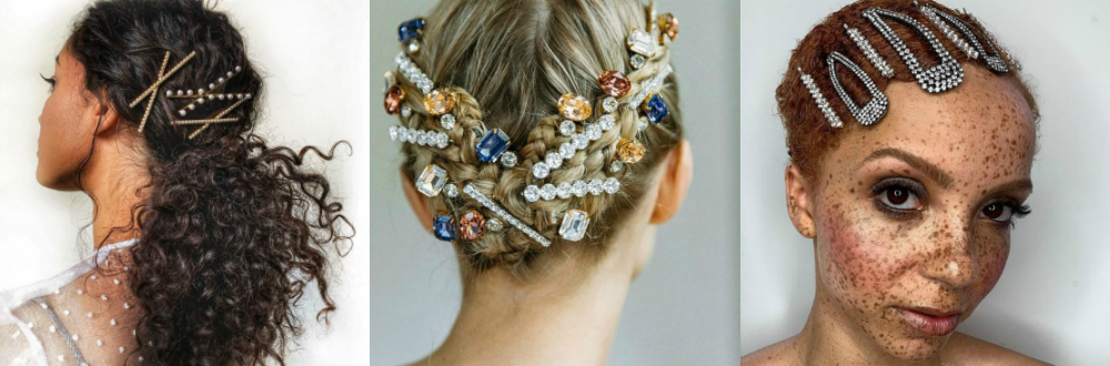 Beautiful hair jewels by Lelet NY, Jennifer Behr, and Kitsch.