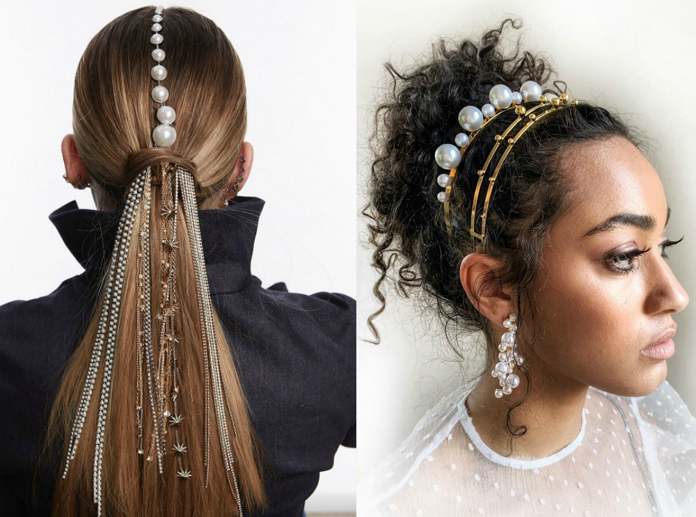 Such a cool use of pearls in these Lelet NY jewel hair styles! Love those headbands