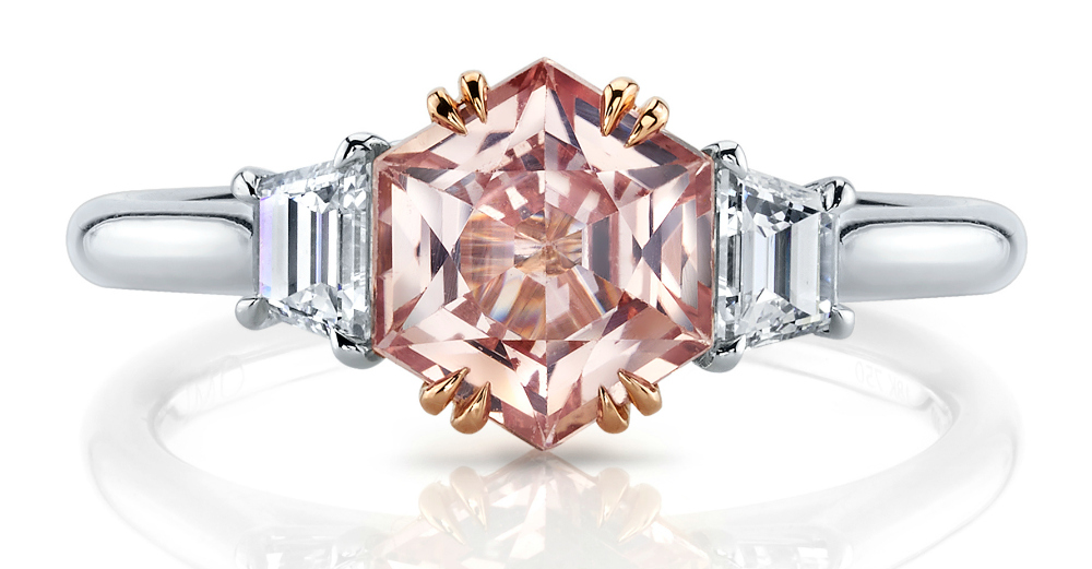 A padparadscha and diamond ring by Omi Prive. Would be a beautiful sapphire engagement ring!!