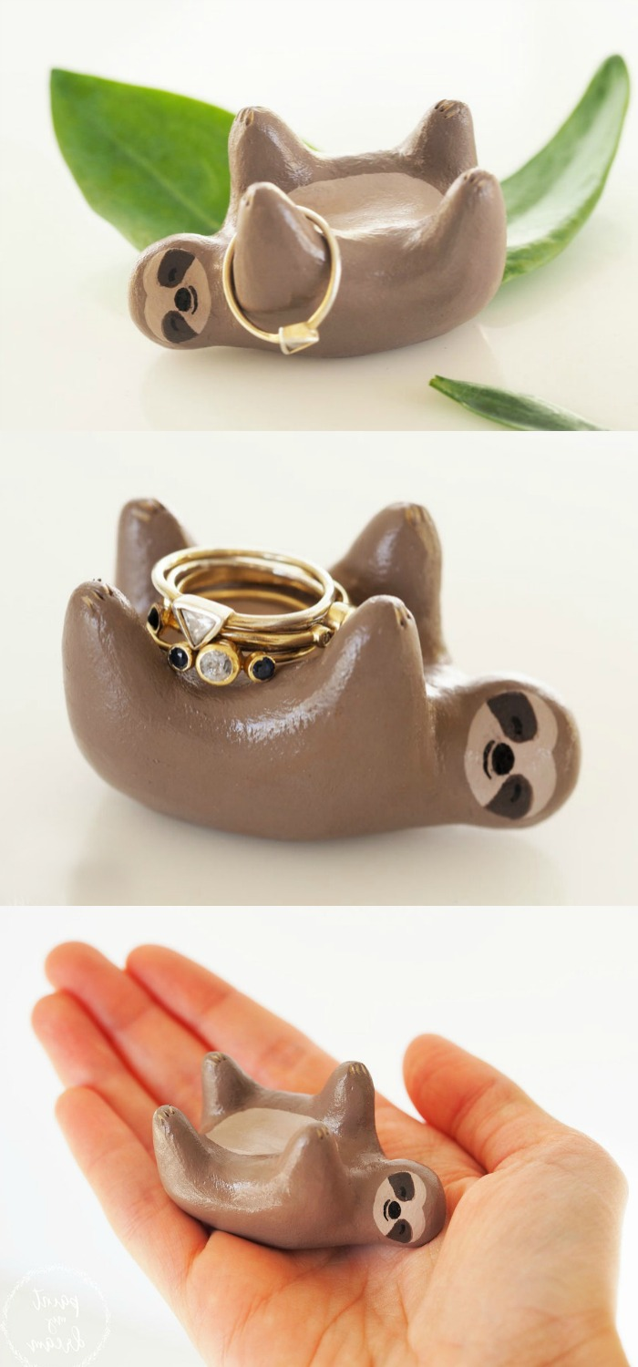 An adorable hand painted sloth jewelry and ring holder by Paint My Dream.