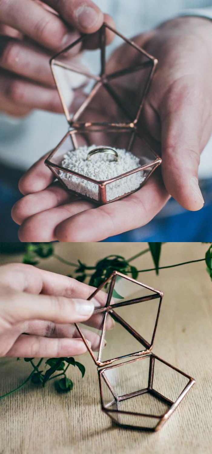 Beautiful metal and glass ring boxes by Leosklo