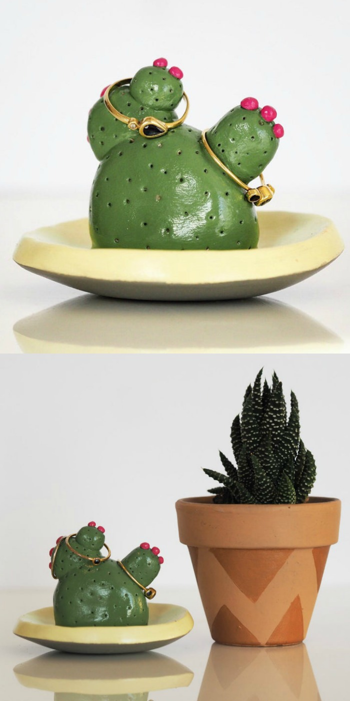 Super cute handmade cactus ring holder from Paint My Dream