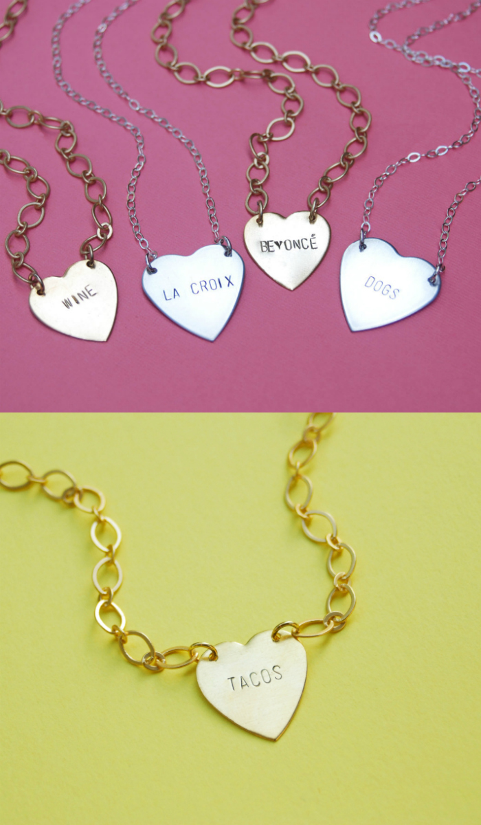 Custom heart necklaces by Bang-Up Betty. Tacos, La Croix, and more!