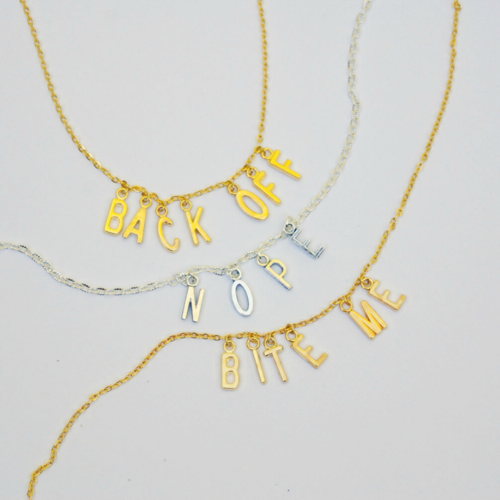 Naughty word necklaces by Bang-Up Betty