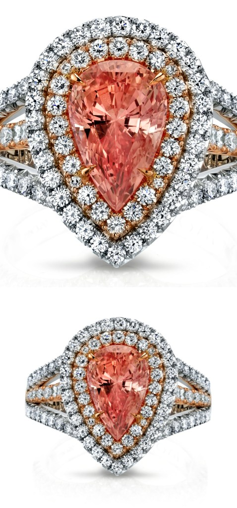 A spectacular 3.44 carat padparadscha sapphire and diamond ring by Omi Prive. This would be the most glorious engagement ring!!