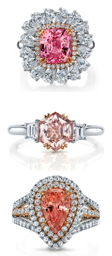 Padparadscha and diamond rings by Omi Prive. These pretty pink sapphires would be such beautiful engagement rings!