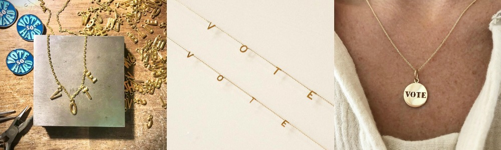 All kinds of VOTE jewelry to jazz up doing your civic duty!