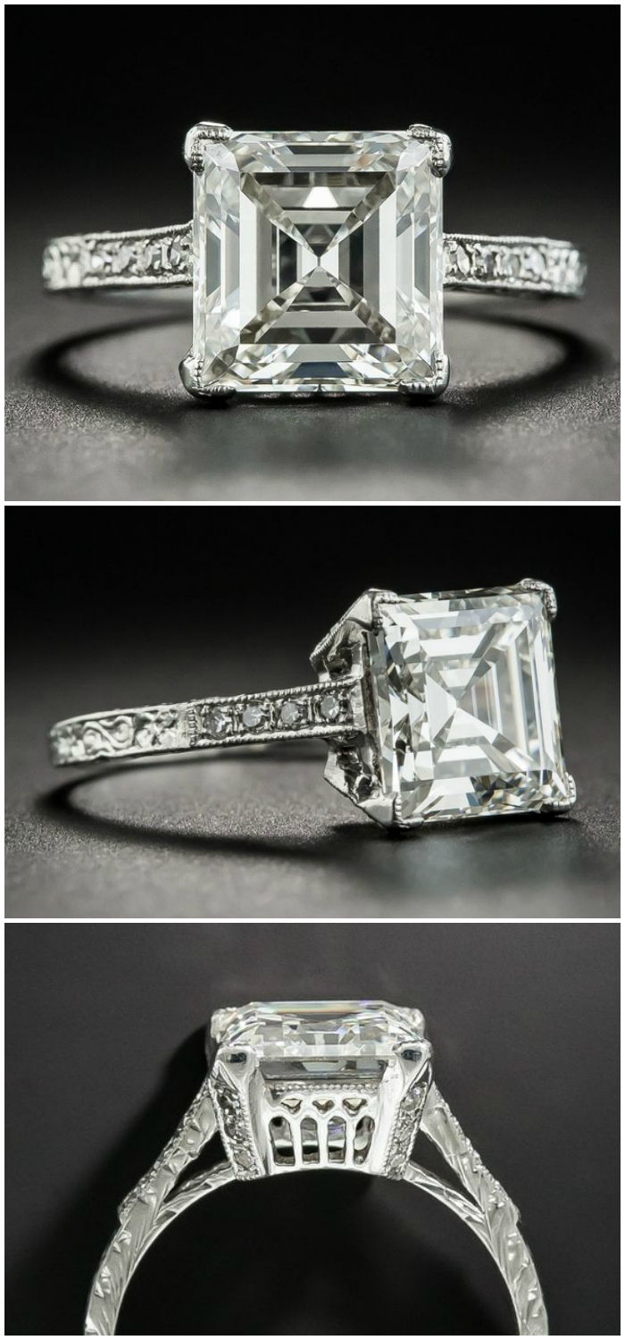 3.46 carat Edwardian carré diamond engagement ring. From Lang Antiques.