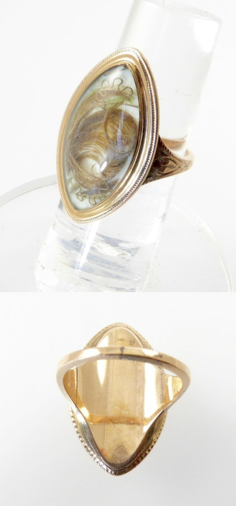A beautiful Georgian era sentimental ring with hair and seed pearls. From Lisa Kramer Vintage.