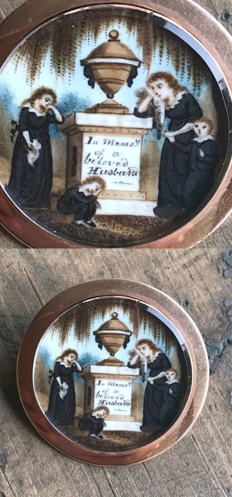 A beautiful antique mourning brooch made to honor a beloved husband.