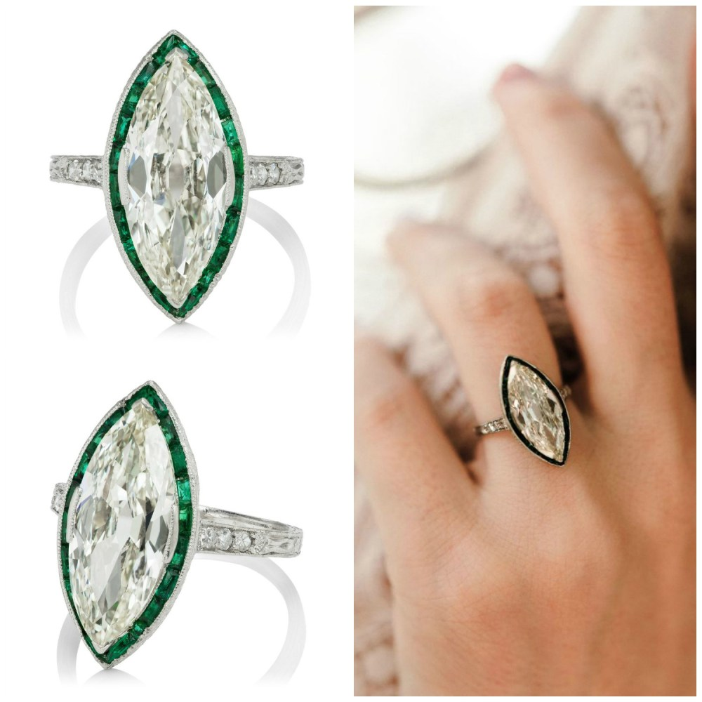 A magnificent Art Deco engagement ring with a 3.03 ct Marquise diamond in platinum with calibre cut emeralds. Circa 1920, from Victor Barbone.