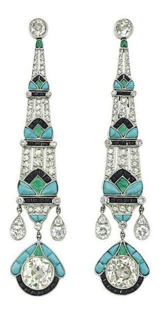 The dreamiest emerald, onyx, diamond, and turquoise earrings. From Christie's.
