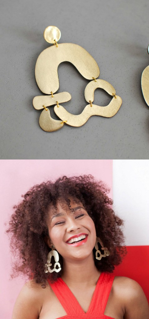 Arched abstract earrings in gold leather by Bneu Made!