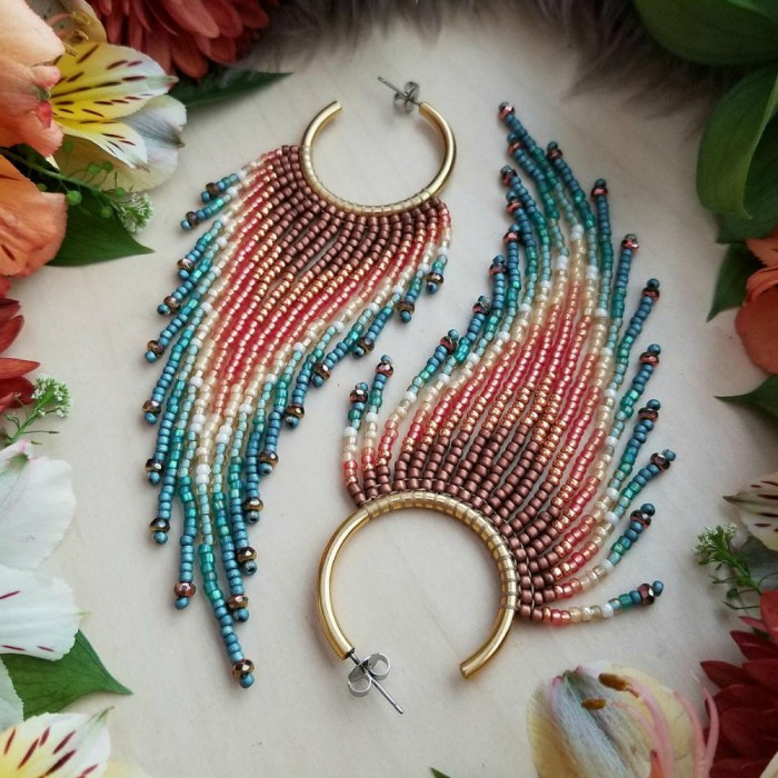I love these beaded fringe hoop earrings from Mile High Beads.