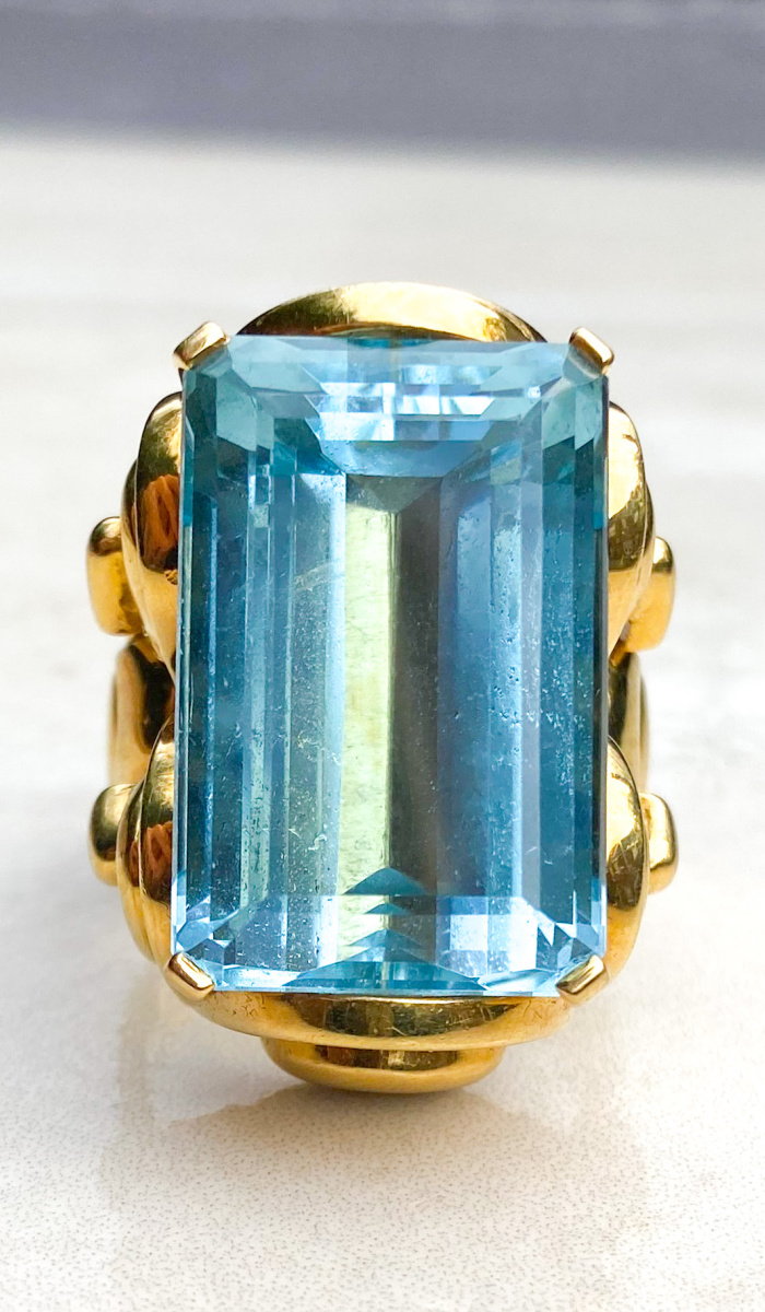 A spectacular vintage aquamarine ring from Audrey & Wolf.