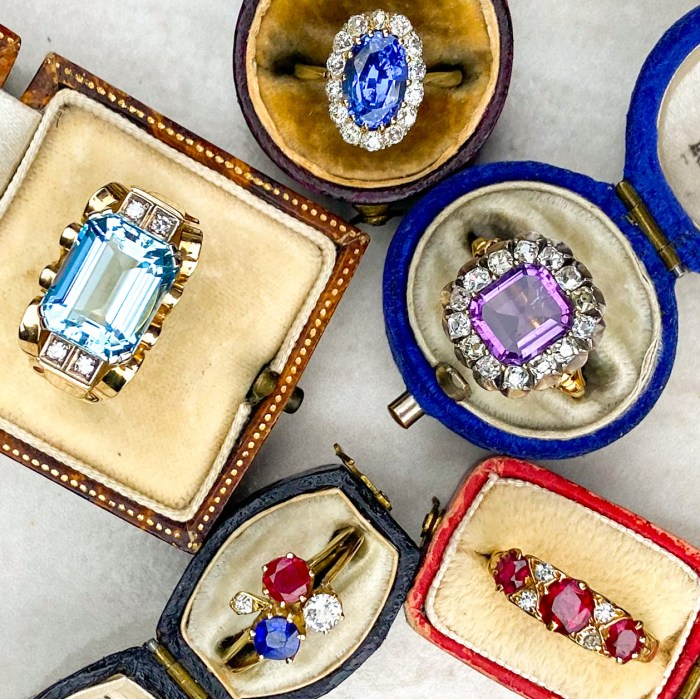 A treasure trove for vintage jewelry lovers! Look at these colored gemstone rings. From Audrey & Wolf.