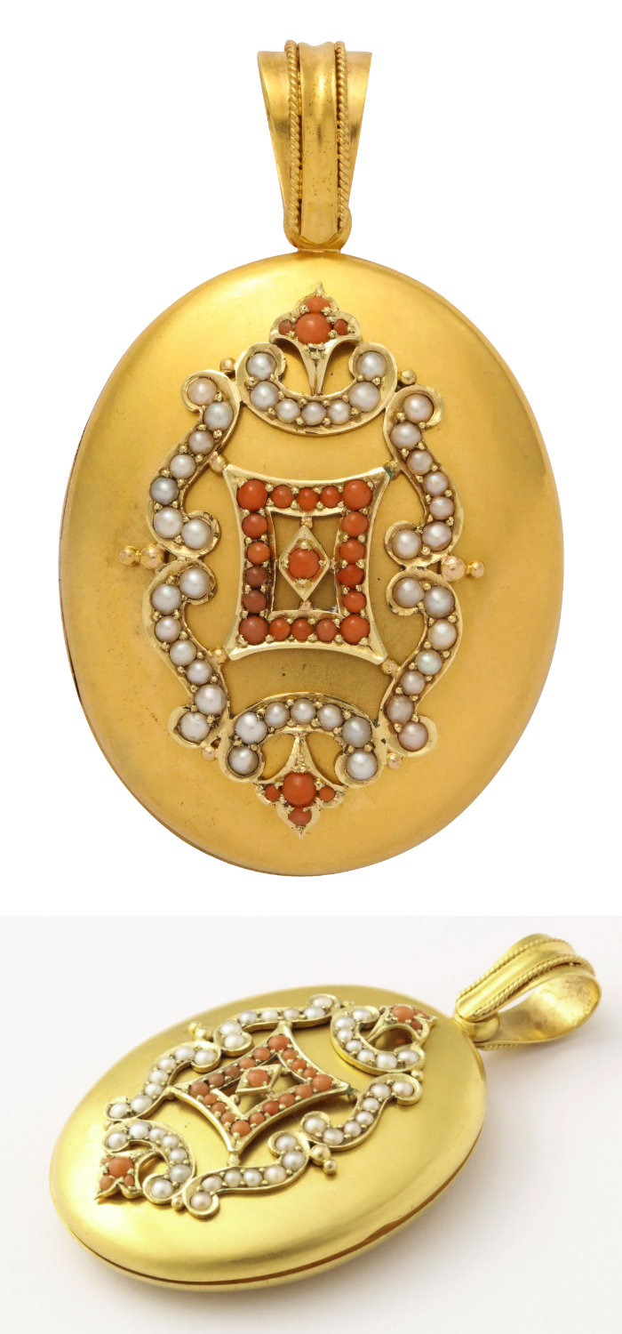 An rare Victorian era gold locket with pearls and pink coral. From Glorious Antique Jewelry on Ruby Lane.