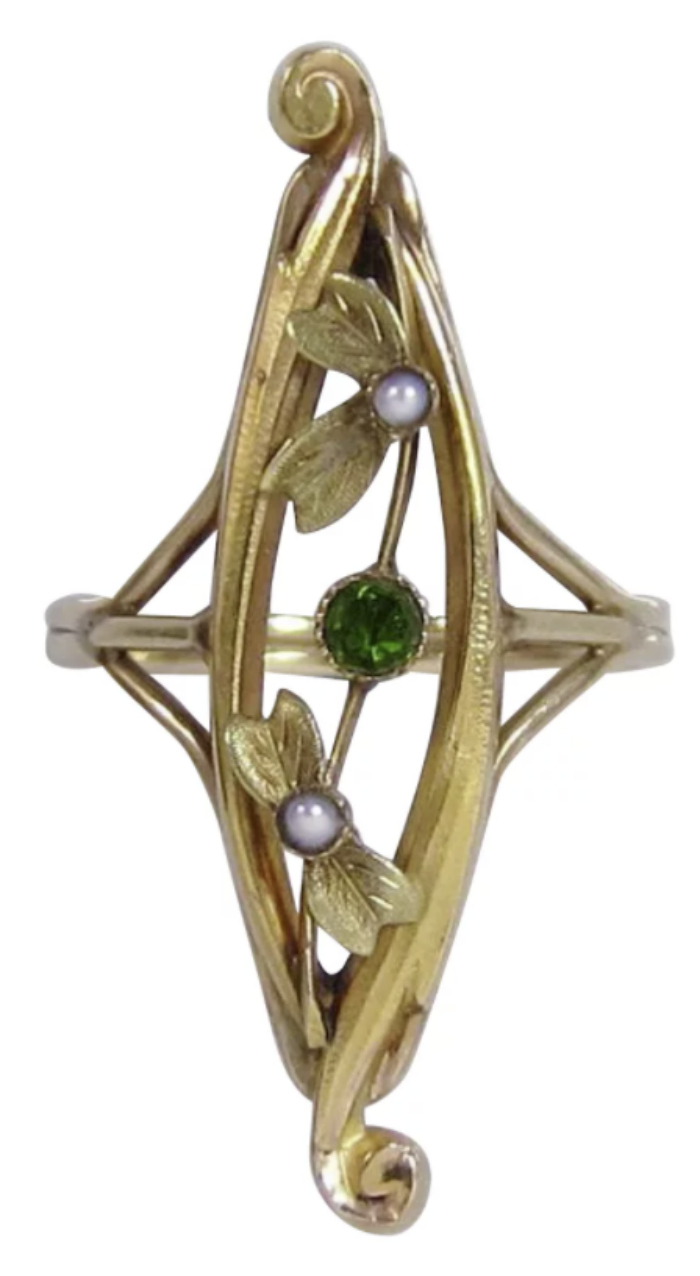 Antique Art Nouveau ring with flower, tourmaline and pearls. From Icon Style on Ruby Lane.