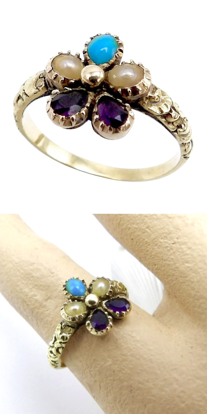 Antique Victorian era pansy ring with turquoise, amethyst, and pearl. Circa 1850. From Kirsten's Corner on Ruby Lane.