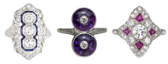 Art Deco era gemstone rings from sellers on Ruby Lane.