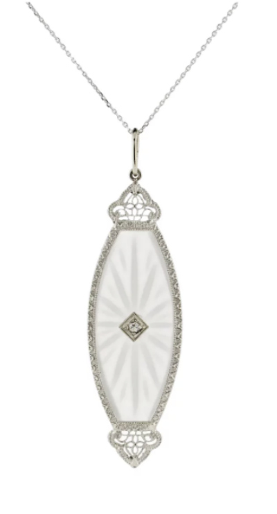 Art Deco era rock crystal and diamond necklace from Addy's Vintage on Ruby Lane.